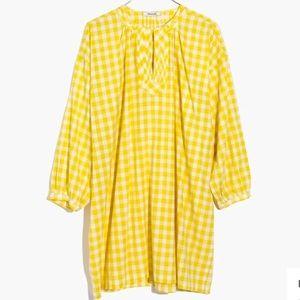 Madewell Yellow Gingham Tunic Shift Dress NWT
